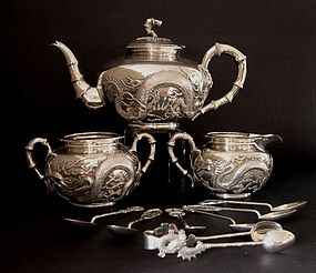 Chinese silver tea set Wang Hing  dragons decorated