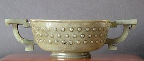 Chinese jade cup two handled and studded body
