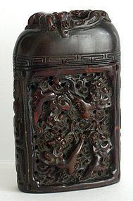 Chinese buffalo horn box with dragon and shou carving
