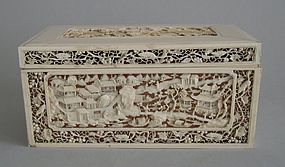 Chinese ivory box with open work carving