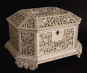 Chinese ivory octagonal casket with deep carved panels