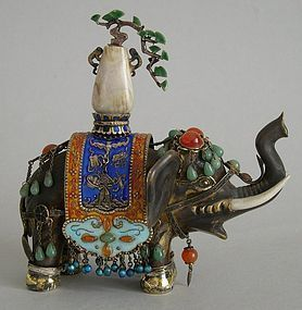 Chinese silver gilt elephant enamel and jade decorated