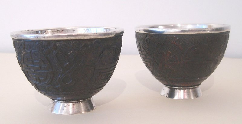Chinese carved coconut cups