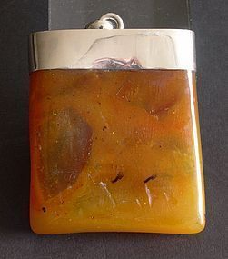 Natural butterscotch amber plaque pendant