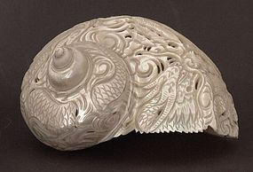 Chinese antique pearl shell carved and pierced