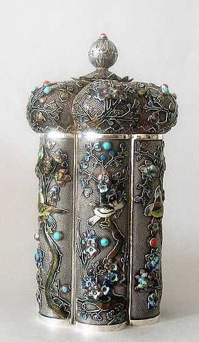Chinese enameled silver caddy