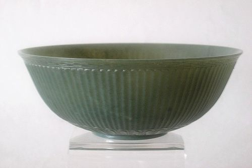 Chinese  green jade bowl Mughal style