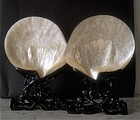 Chinese pair of Canton mother of pearl carvings