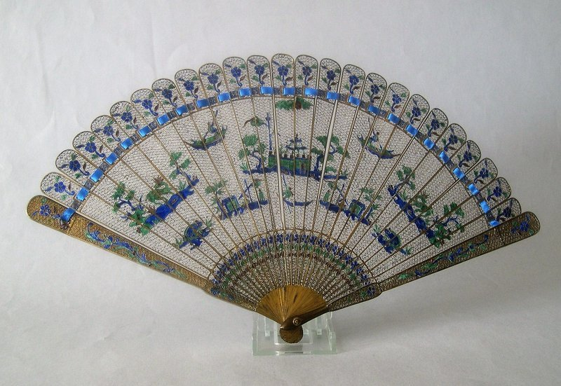 Chinese gilt silver and enamel fan