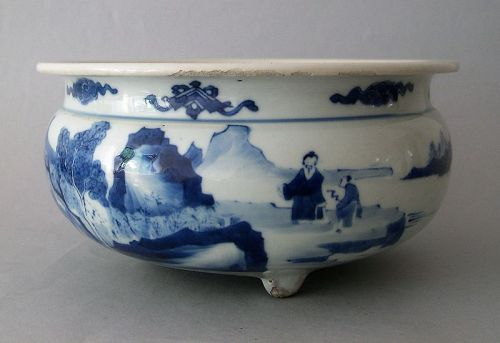 Chinese porcelain incense burner Knagxi blue and white