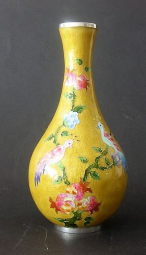 Chinese-Korean silver enameled vase