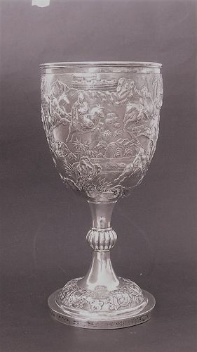 Chinese silver goblet Wang Hing 19C
