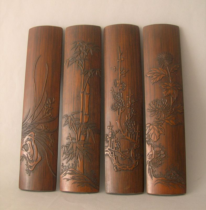 Chinese bamboo wrist rests set of 4 Qing period