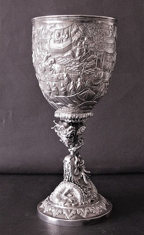 Chinese silver goblet
