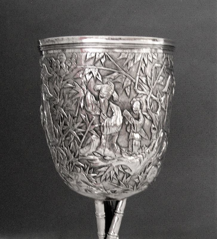 Chinese silver goblet with figures all around