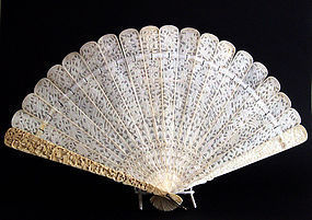 Canton ivory fan double-sided carving