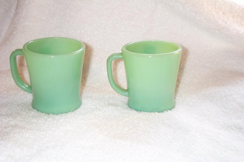 Fire King Jade-ite Flat Bottom Restaurant Mugs Two