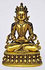 A Sino-Tibetan Gilt Bronze Amitayus