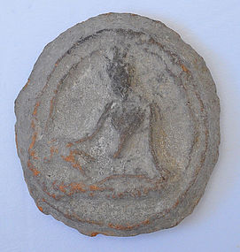 A Rare Thai Clay Seated Figure of Tara