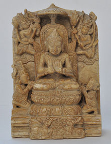 A Burmese Late Pagan Andagu Stone Buddha