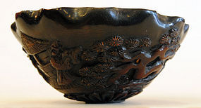 A Chinese Horn Carved Cup