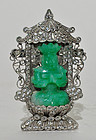 A Silvery Metal Brooch with Jade Seated Buddha
