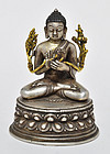 A Rare Sino-Tibetan Silver Maitreya