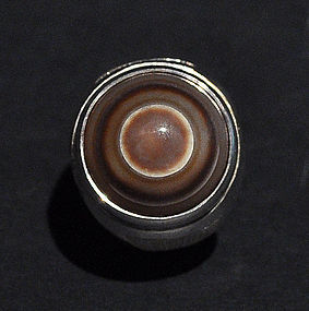"An Old Natural Dzi ""Eye"" Agate Ring"
