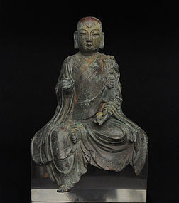 A Yunnanese Bronze Statue of Seated Ksitigarbha