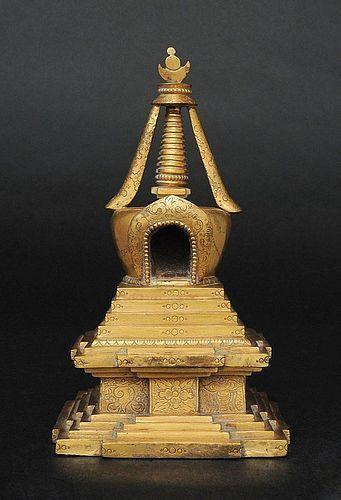 A Gilt Bronze Stupa / Pagoda, Mongolia or Tibet