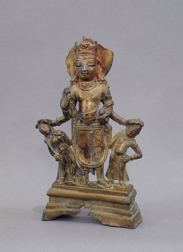 8th / 9th century Kashmir Brass Vishnu with silver inlay
