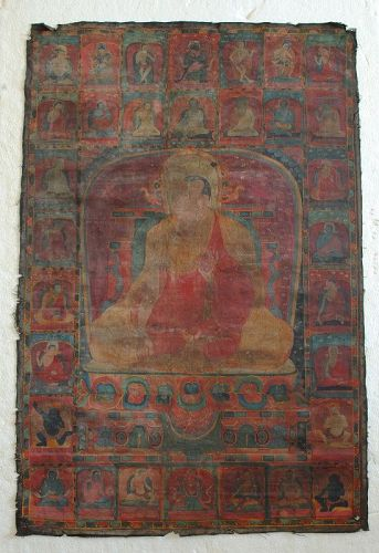 14th-15th century Tibetan Thangka of Lama