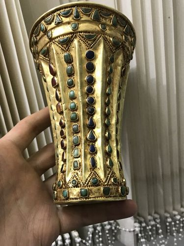 Ancient Roman Cup, Gold 18K with Turquoise and Agate