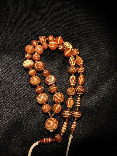 ancient etched agate carnelian beads