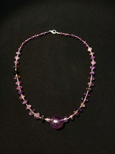 Antique Amethyst Bead Necklace