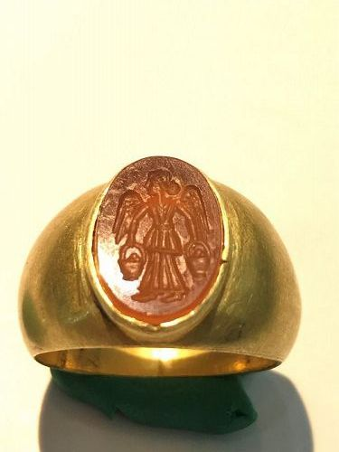 FABULOUS ANCIENT ROMAN GOLD INTAGLIO RING - 4th-1st Century BC