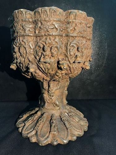 A beautiful ancient bronze cup with fine carved Buddha