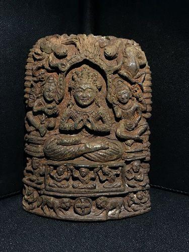 A bone carved rare meditating Buddha