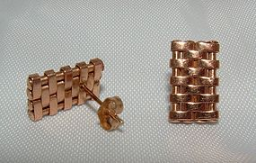 14K Rose Gold Retro Earrings c1940s