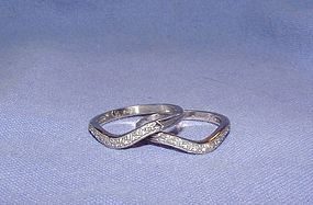Vintage Pair Diamond Platinum Wedding Guard Rings