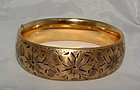 Art Deco Yellow Goldfilled Engraved Bangle Bracelet