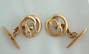 Victorian 18K Yellow Gold Diamond Snake Cufflinks