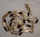 "Art Nouveau 18K Gold Garnet French Link Muff Chain 54"""