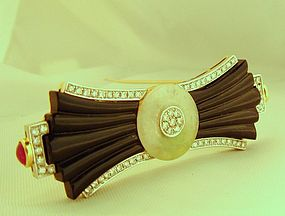 Art Deco 18K Diamond Onyx Jade Ruby Brooch