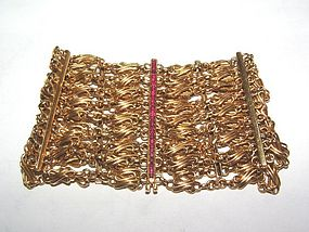 French Art Nouveau 18K Ruby Wide Chain Bracelet Rare