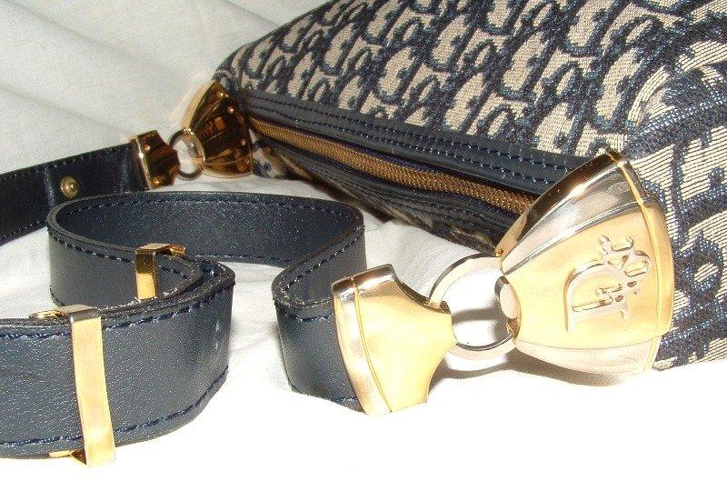 Authentic Christian Dior Navy Logo Shoulder Hand Bag