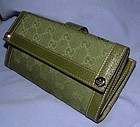 Authentic Gucci Green Guccisima Leather Wallet NEW