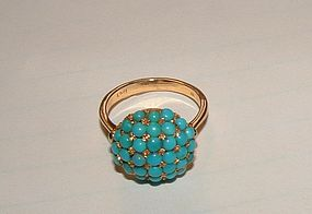 Vintage 18K Yellow Gold Persian Turquoise Ring 8.5