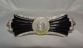 18K Art Deco Onyx Diamond Jade Ruby Brooch