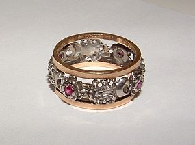 Vintage 14K Gold Garnet Eternity Ring c.1940s